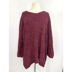 Chico's Chenille Sequin V-neck Pullover Sweater'